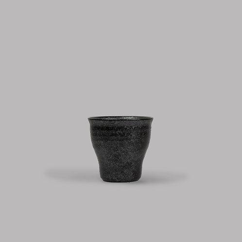 craft black teacup w/ fluted base
