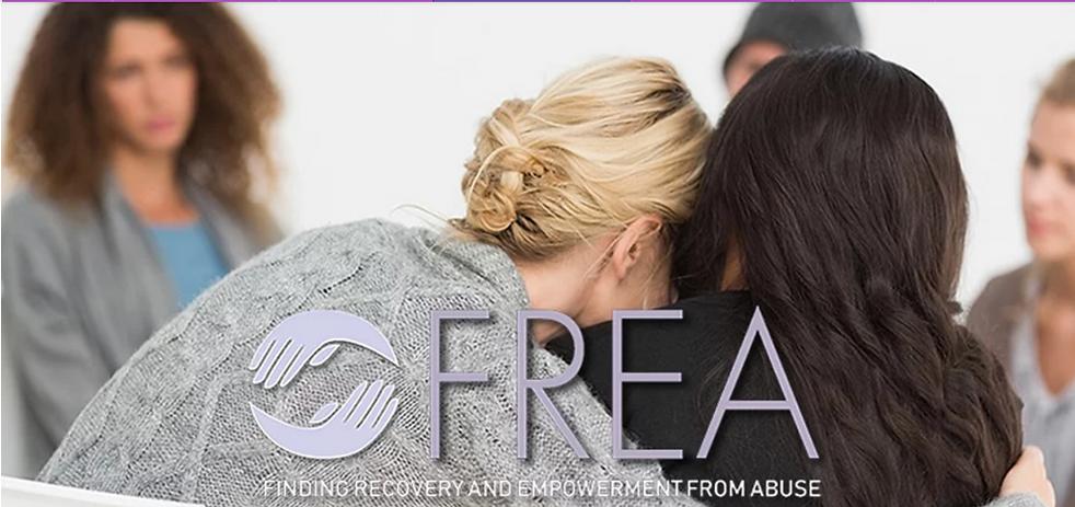 Backs of women hugging with FREA lavenda