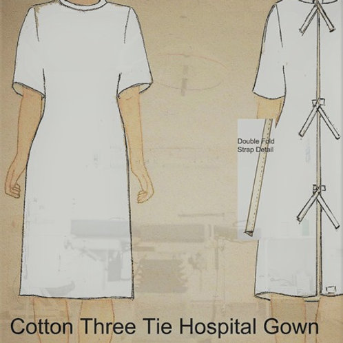 3 TIE 100% COTTON PATIENT GOWN