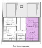 Plan des bureaux (2ème étage) de La Maison du bourg. Bureaux, coworking et espaces partagés à Plonéour-lanvern (proche Pont l'abbé et Quimper).