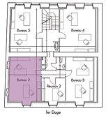 Plan des bureaux (1er étage) de La Maison du bourg. Bureaux, coworking et espaces partagés à Plonéour-lanvern (proche Pont l'abbé et Quimper).