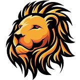 Orange lion image only white background.