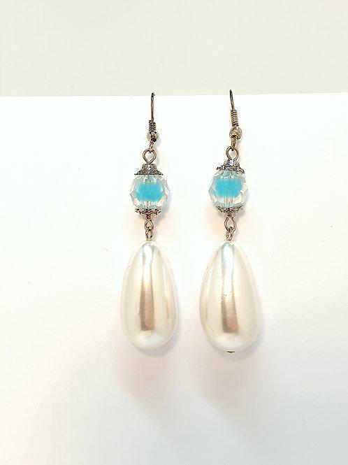 Perlenohrringe Türkis/Weiß