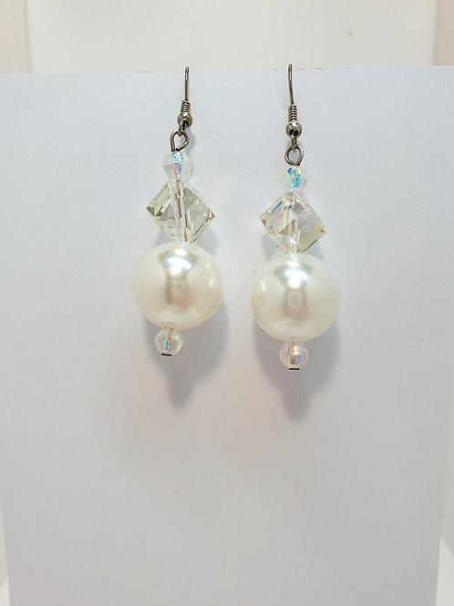 Extravagante Ohrringe kristall/weiß