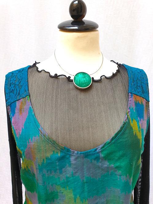 Seidenkleid aus  Original 90th Seide mit Ikkat-Muster