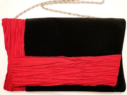 Edle Clutch aus feinem Baumwollsamt mit roter Zierleiste