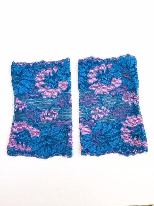 Spitzenstulpen blau/rosa