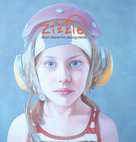 "The cover of Zizzle, issue 2: ""Short stories for young minds."" A realistic painting of a young white"