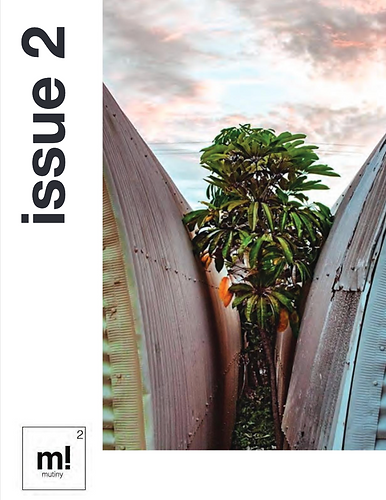 """issue 2"" of mutiny! magazine. A tree is walled in by two curving, concrete walls."