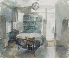 Hackney Interior II, 100x120cm, Ink on p