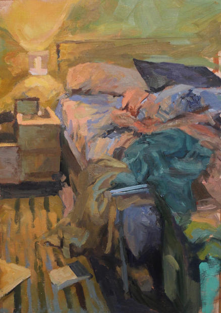 Bed, Wimbledon, 70x80cm, Oil on linen