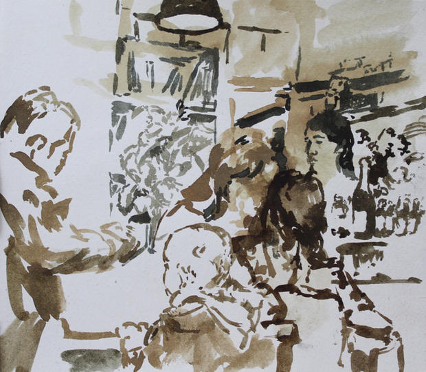 Sullaluna, Venice, 21x29cm, Ink on paper
