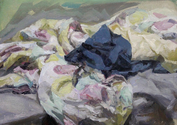 Sheets, 50x60cm, Oil on linen