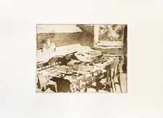 Table Supper (Ochre), 20x15cm, Etching o