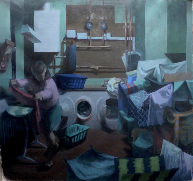 The Laundry, 205x200cm, Oil on linen