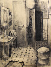 Bathroom, 100x80cm,Charcoal on paper