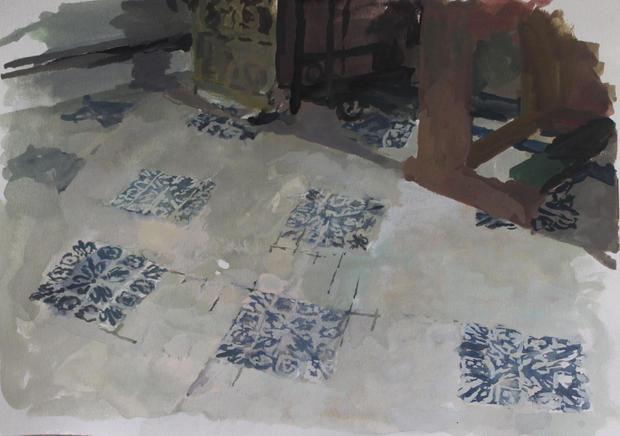 Chapel Floor, 21x27cm, Goache on paper
