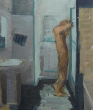 Shower, 27x35cm, Oil on aluminium