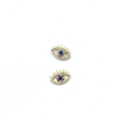Micro Pave Multi-Color Evil Eye Studs