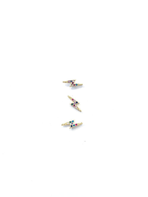 Micro Pave Multi-Color Lightning Bolt Studs