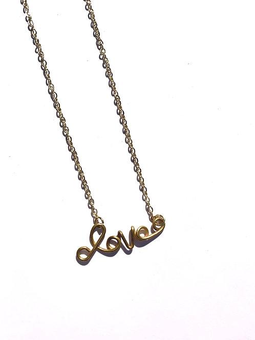 Vintage Brass Love Necklace