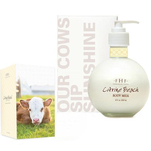 Citrine Beach Body Milk Lotion 8 oz. glass bottle