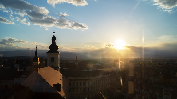 sunset over Sibiu