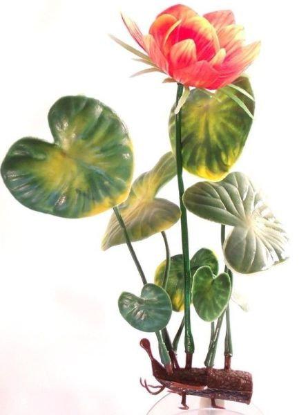 """Deep Blue 12"""" White Lily Aquarium Plant"""