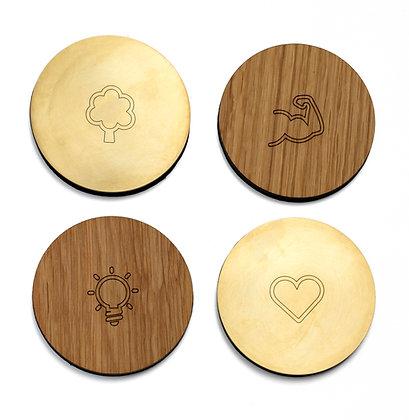 Coasters - Oak/Brass - Set of 4