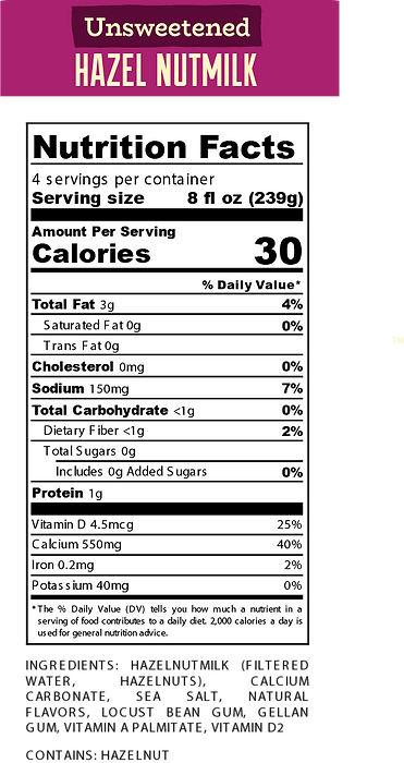 Nutritional Facts for Website Unsweet.pn