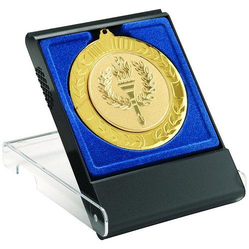 Black/Clear Medal Box - Large (50/60/70Mm Recess Blue Insert)  - 121 mm