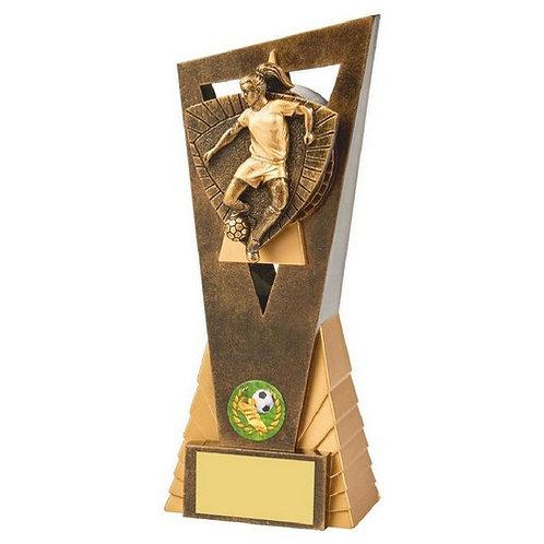 Antique Gold Female Footballer Edge Trophy - 210mm