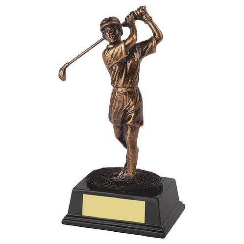 Antique Gold Resin Female Golfer  - 180mm