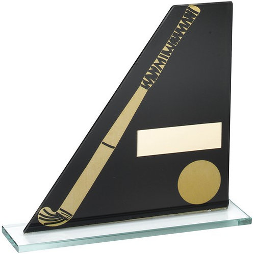 Black/Gold Printed Glass Plaque With Hockey Stick/Ball Trophy - 146 mm