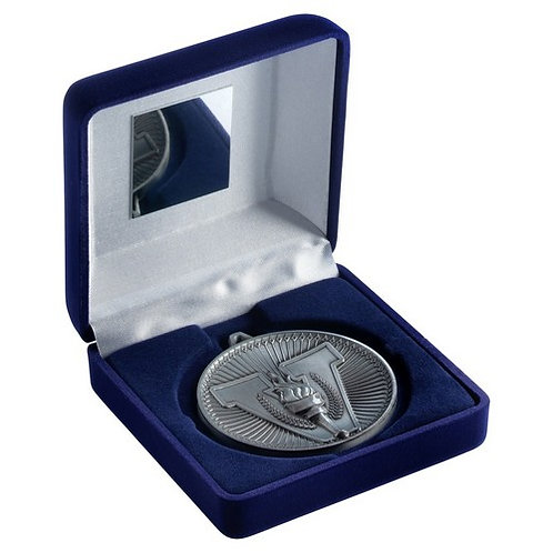 Blue Velvet Box And 60mm Medal Victory Torch Trophy Antique Silver - 102 mm
