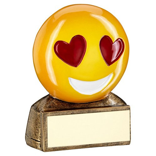 Brz/Yellow/Red 'Heart Eyes Emoji' Figure Trophy - 70 mm