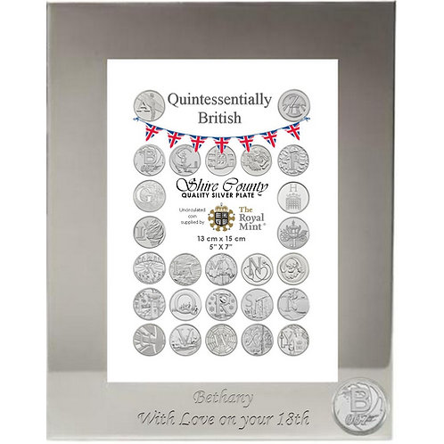 Photo Frame with British Coin | Bond, James Bond | Letter B | Free Engraving