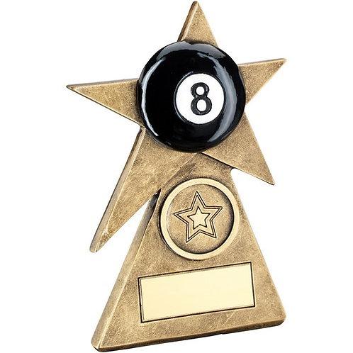 Brz/Gold/Black Pool Star On Pyramid Base Trophy - 102 mm