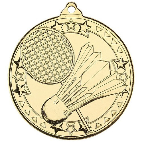 Badminton 'Tri Star' Medal - Gold  - 50 mm