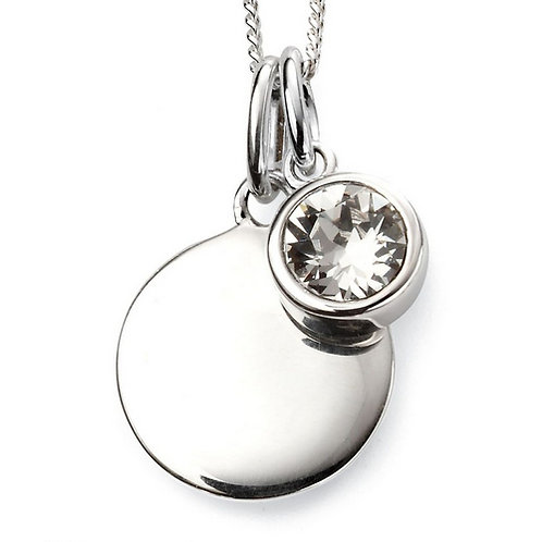 April Birthstone Pendant with engraved pendant