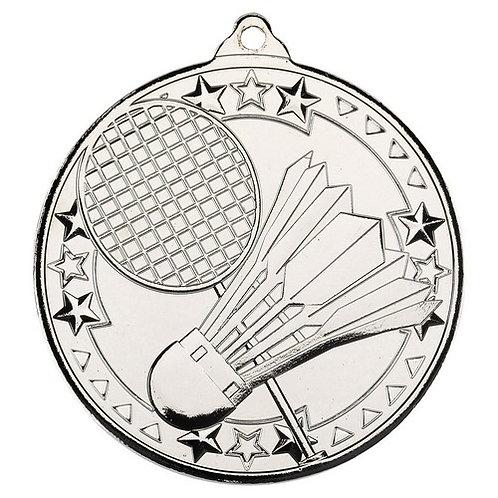 Badminton 'Tri Star' Medal - Silver  - 50 mm