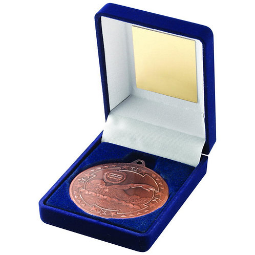 Blue Velvet Box And 50mm Medal Swimming Trophy Bronze - 89 mm