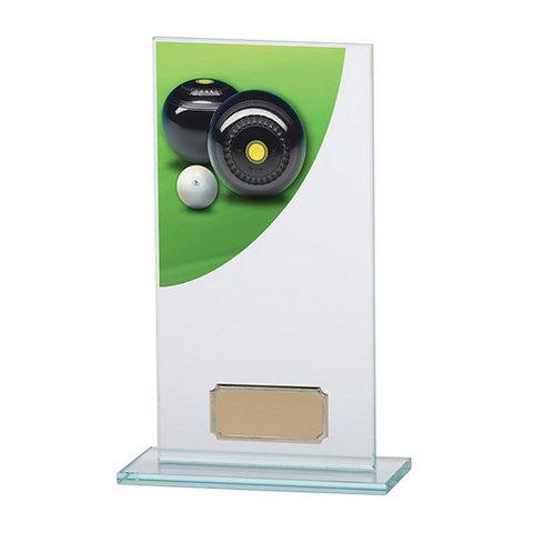 Colour Curve Lawn Bowls Jade Glass Award - 180mm