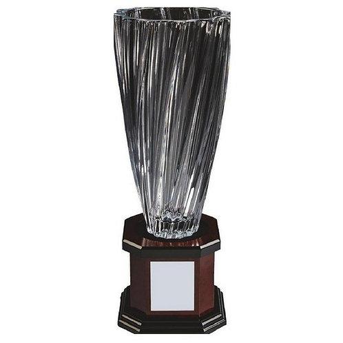 Bohemia Crystalite Twist Vase Award on Wood Stand - 420mm