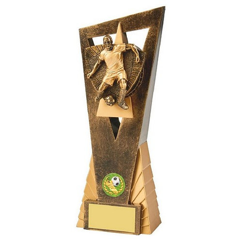 Antique Gold Male Footballer Edge Trophy - 230mm