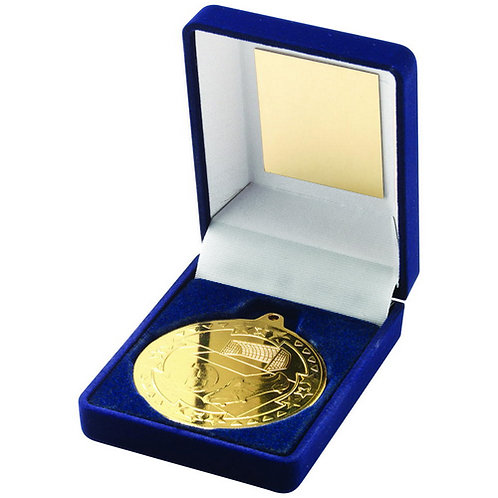 Blue Velvet Box And 50mm Medal Football Trophy Gold - 89 mm