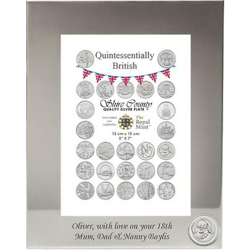 Photo Frame with British Coin | Oak Tree | Letter O | Free Engraving
