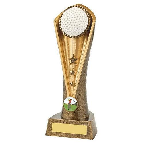 Antique Gold Golf Ball Cobra Trophy - 230mm