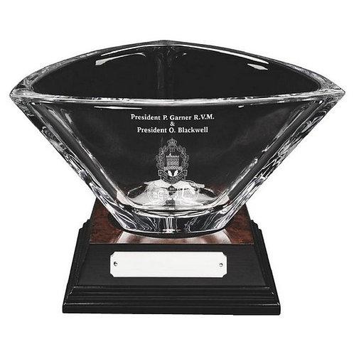 Bohemia Crystalite Bowl on Wood Base - 170mm