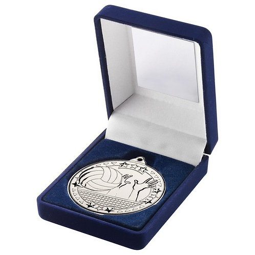Blue Velvet Box And 50mm Medal Volleyball Trophy Silver - 89 mm